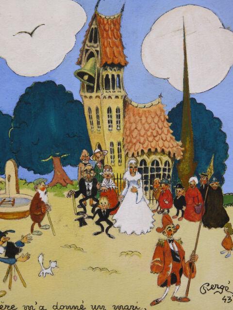 Pierge (Xx) Gouache of 1943 Wedding Barbenfleur Enfantina War World