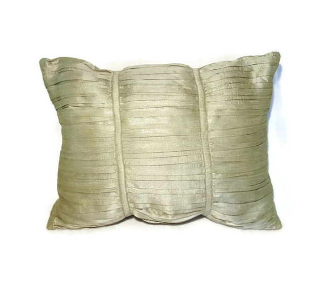 "Accent Throw Pillow Sage Green Crushed Pleat Sheen Rectangle 16"" x 12"""