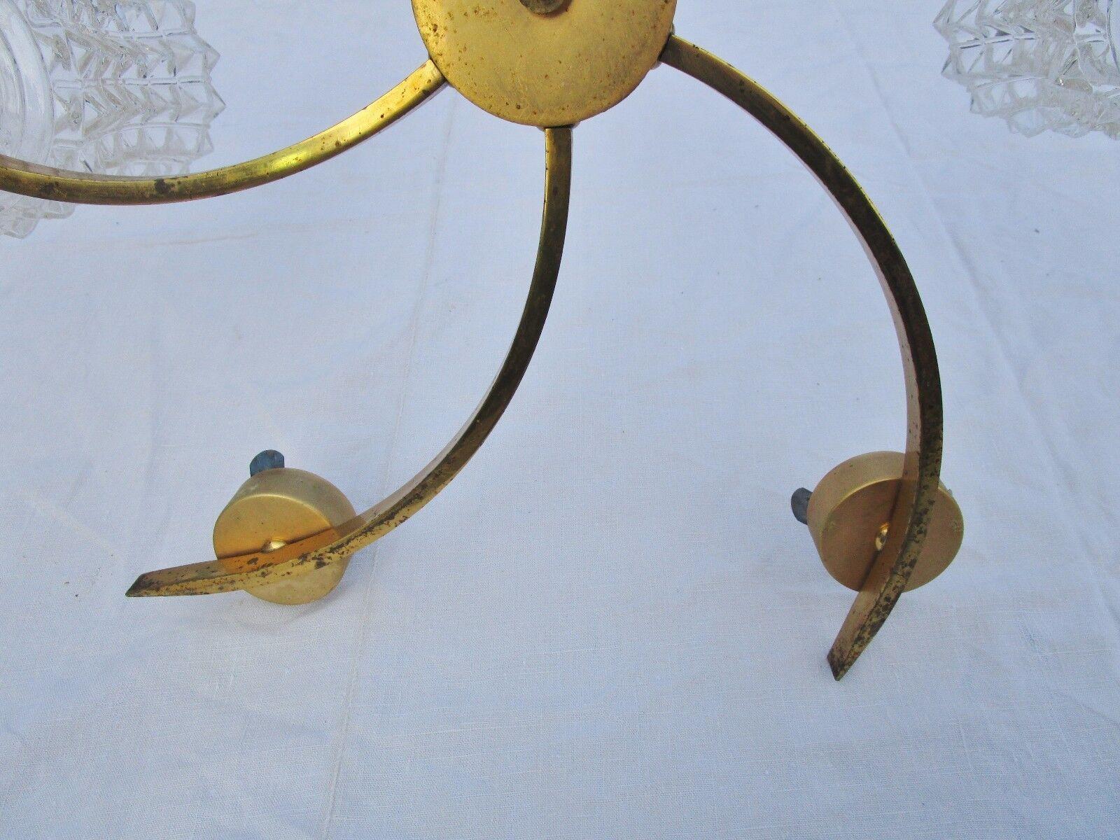 ancien lustre étoile doré-6 en aluminium doré-6 étoile lumières-verre granité-vintage-1960 e2cc75