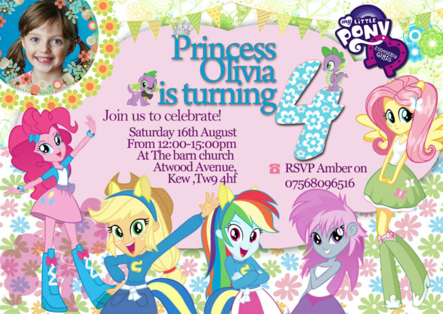Personalized Birthday Invitations My Little Pony Equestria Girl 8 Invites A6