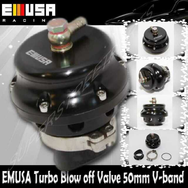 EMUSA 50MM Turbo Blow Off Valve V-band Flange Universal Aluminum BLACK