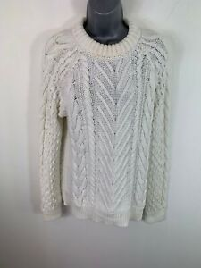 WOMENS-ZARA-CREAM-LONG-SLEEVED-JUMPER-SWEATER-PULL-OVER-SIZE-M-MEDIUM-COTTON