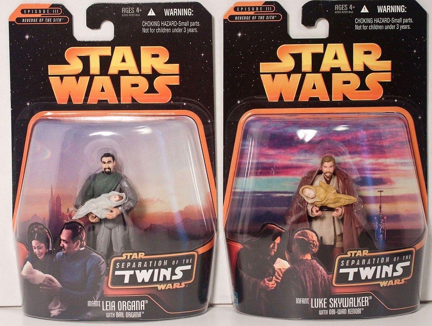 Star Wars SEPARATION OF TWINS (2) Figures Infants LUKE LEIA + Obi-Wan Organa NEW