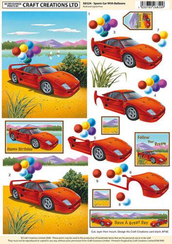 Craft création découpage non découpées VOITURE /& Ballons pour Cartes et Artisanat