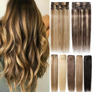 100-Natural-8pcs-Clip-In-Real-Remy-Human-Hair-Extensions-Full-Head-Brown-Blonde