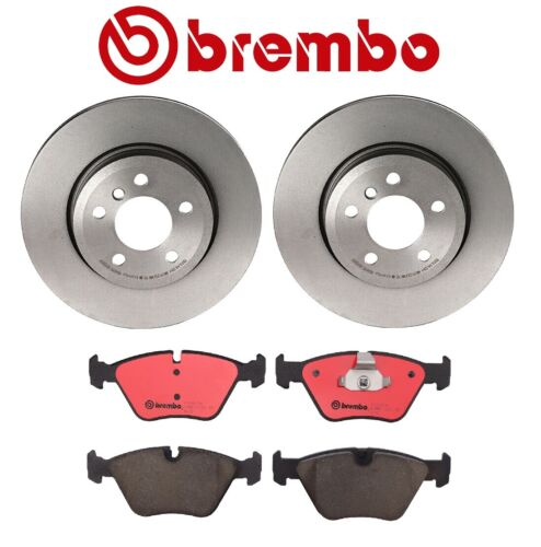 For BMW E83 X3 Front Vented Coated 325mm Disc Brake Rotors and Pads Kit Brembo