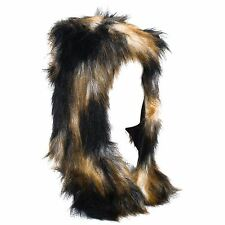 67b7db1980b Faux Fur Winter Hat With Attached Scarf by Collections Etc Black for ...