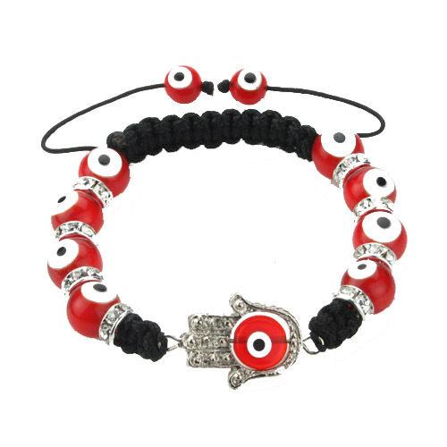 Glass Evil Eye Glass Bead Hamsa Protection Bracelet in Red