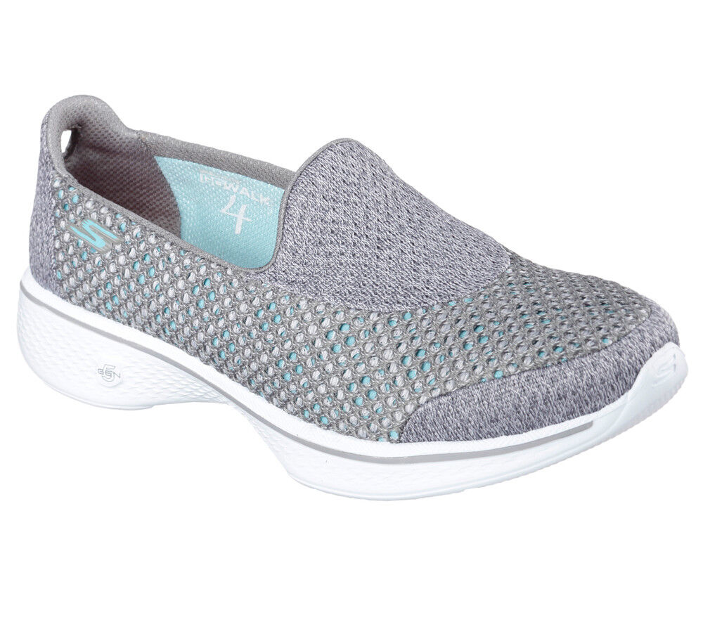 NUOVO Skechers Fitness da donna Loafer Scarpe da Ginnastica Slipper Loafer donna Walking Go Walk 4 GRIGIO Kindle 094762