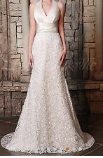 Elegant Satin & Lace Halter Neckline Mermaid Wedding Dress Size 4