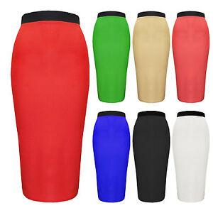 4eaf766e5 Womens Plus Size Block Colour Stretch Pencil Skirt Black Red Navy ...