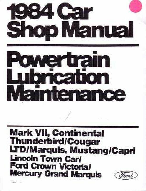 Feo Repair Shop Manual Loose Leaf For Mercury Capri, Cougar, Marquis 1984