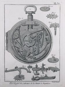 Horlogerie-1765-Montre-a-Repetition-Gravure-Encyclopedie-Diderot-Watchmaking