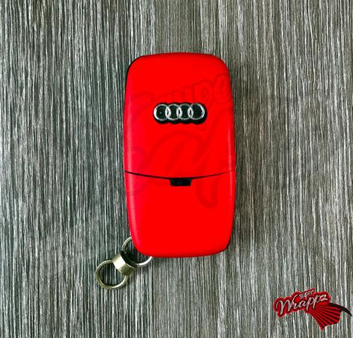 Red Matte Key Wrap Cover Overlay Audi Remote A1 A2 A3 A4 A5 A6 A8 TT