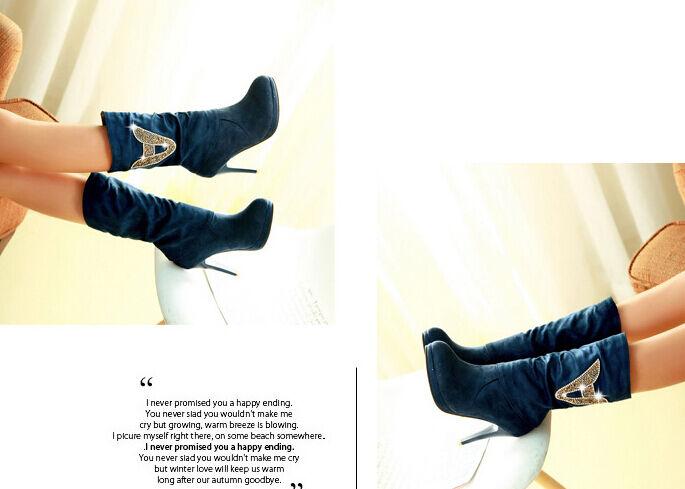 Bottes hiver confortable hauts noir bleu femme talon 10 cm comme en daim 8820