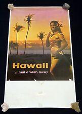 """Rare Original 1960's Hawaii Travel Poster """"Just a Wish Away"""" (Hol) #3"""