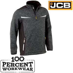 JCB-Workwear-Elmhurst-II-1-4-Zip-Grey-Marl-Knit-Jumper-Fleece-Soft-Shell-Jacket