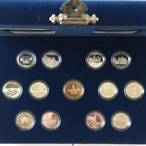Canada-1992-92-5-Silver-Set-12-Quarters-1-Loonie-cased-in-a-blue-Velvet-Case