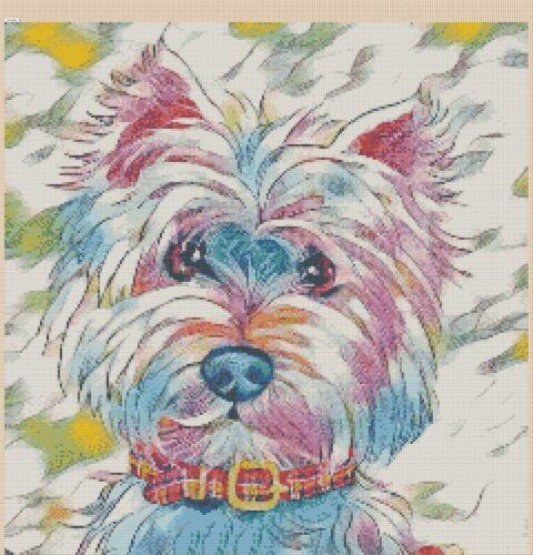 Cross Stitch Chart 392 .TSG37 Colourful Westie Terrier 4 pop art No