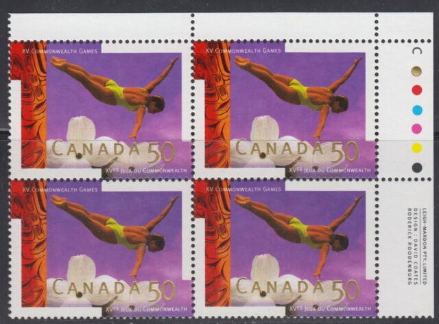 CANADA #1521 50¢ XV Commonwealth Games UR Inscription Block MNH