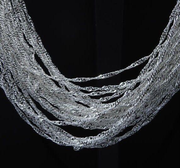 "Hot Wholesale 5pcs/lot Silver Jewelry 1.4mm Unisex Wave Chain Necklace 16-30"""
