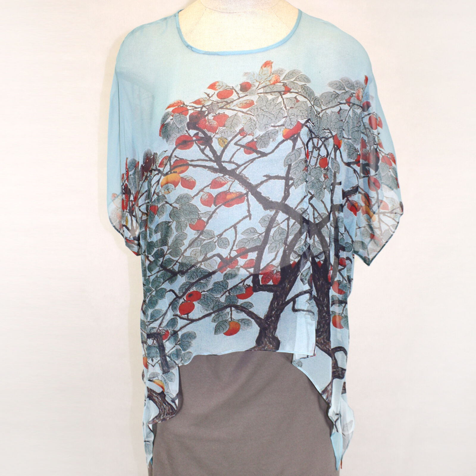 NEW NWT Cocoon House Delicious Art to Wear 100% Silk Pointed Blouse Top Large XL
