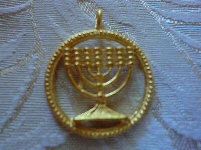 FRAMED 24KT GOLD JEWISH MENORAH ISRAELI HEBREW PENDANT W/ 24 KARAT GOLD CHAIN