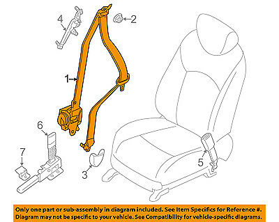 nissan oem front seat belts-belt & retractor left 868853ja8b, black