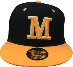 adca5c404aac2 Image is loading M-Embroidered-Snapback-Flat-Brim-Adjustable-Baseball-Caps-
