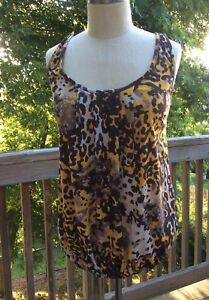 00af163e91e5e RUE 21 NWT LACE CAMI TOP BROWN GOLD LEOPARD CAMOUFLAGE SIZE M NEW | eBay