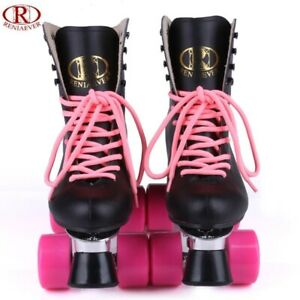 Roller Skates for Women Classic High-top Double-Row Leather Adult Roller Skates Adjustable Four-Wheel Double-Row Skates