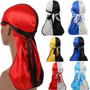 Unisex-Satin-Durag-Bandanna-Turban-Silky-Long-Tail-Scarf-Cap-Headwear-Hat-Red