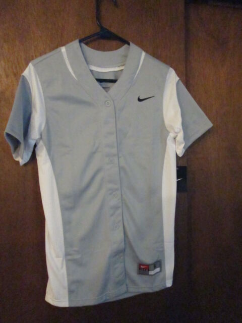 a770c1be Nike Womens Small Vapor Full Button Game Softball Jersey Gray White ...