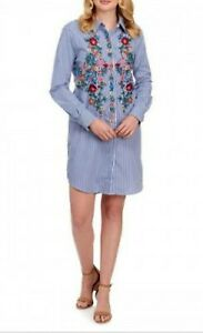 NWOT-CHELSEA-amp-THEODORE-Pin-Stripe-Bohemian-Floral-Embroidered-Shirt-Dress-SZ-M