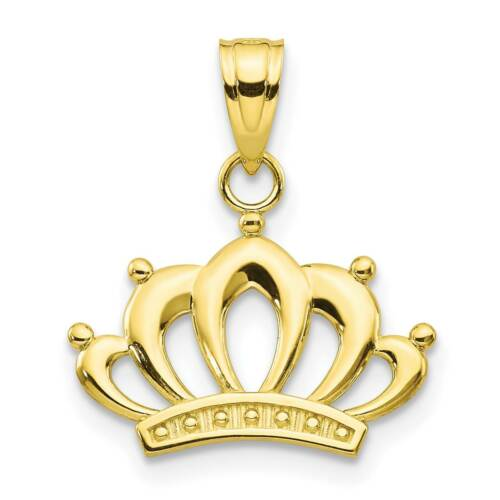 10k Yellow Gold Polished Crown Charm Pendant 15mmx19mm
