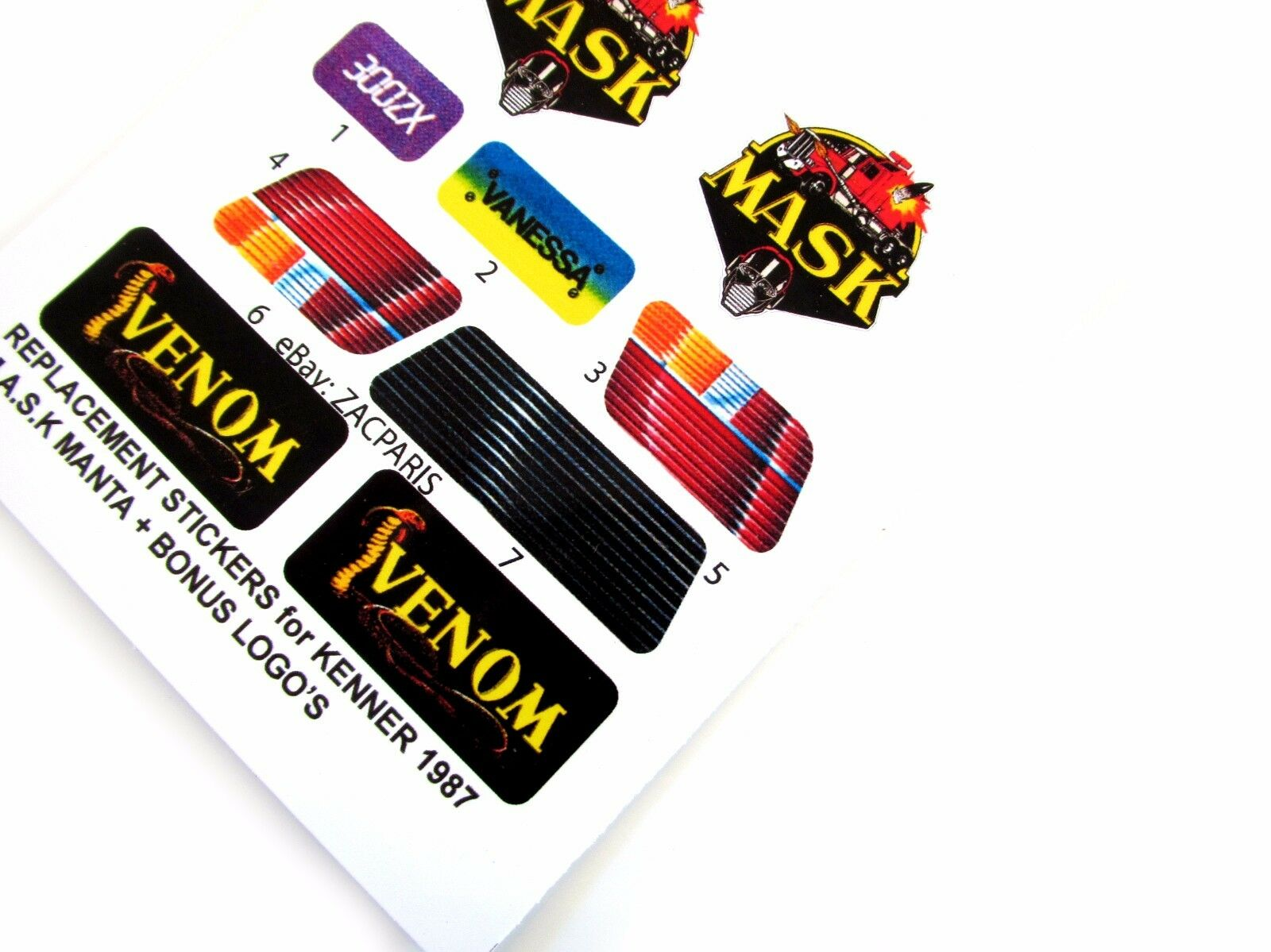 Replacement M.A.S.K Manta MASK Kenner gloss vinyl sticker//label//decal sheet