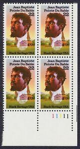 #2249 22c Jean Du Sable , Placa Bloque [11111 LR ] Nuevo Cualquier 5=