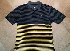 Ecko-Unltd-Short-Sleeve-Golf-Polo-Shirt-Cotton-Blend-Striped-Gray-Yellow-XL
