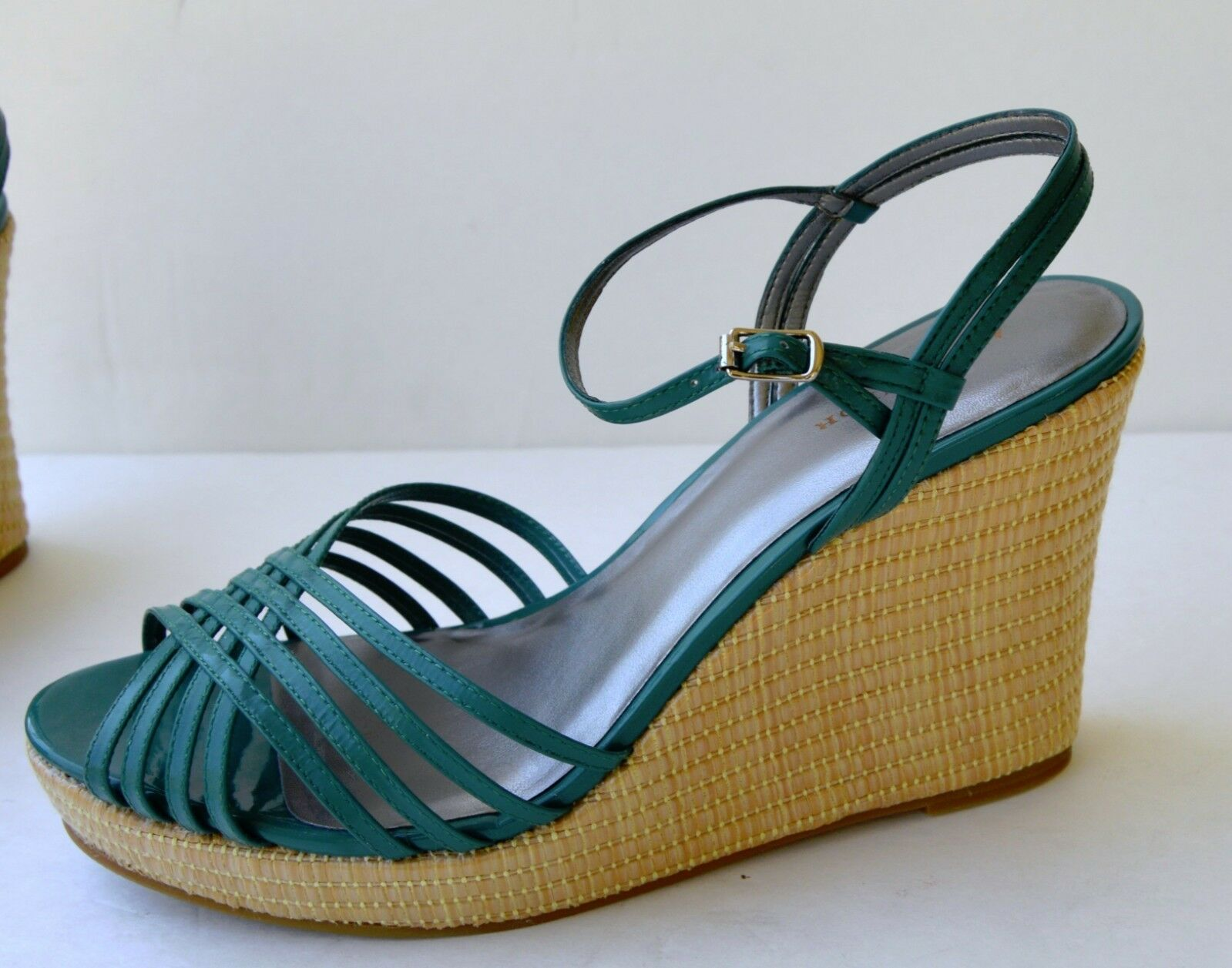 NIB Ann Taylor ALICE Sea Jade Green strappy women's Platform wedge shoes Sz 10
