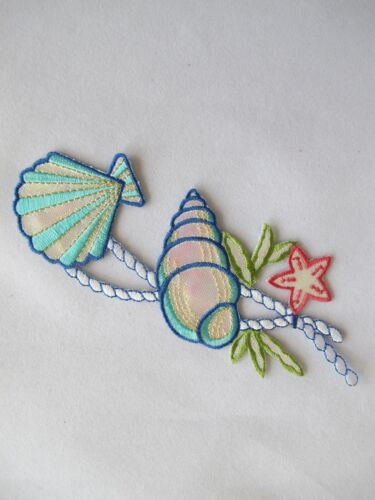 #4208 Clam,Starfish,Conch w//Rope Embroidery Iron On Applique Patch