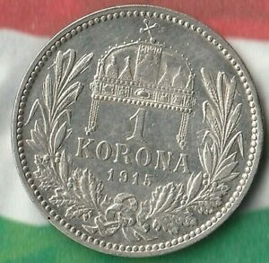 1915-Hungary-1-Korona-Exotic-Silver-Coin-83-5-Silver-Great-Shape