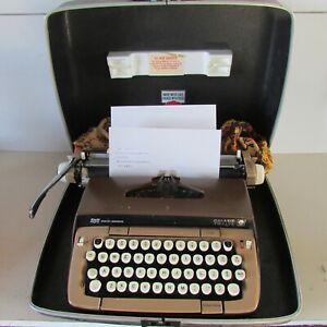 Smith Corona Galaxie Twelve 12 tan brown Portable Typewriter With hard Case USA