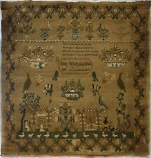 EARLY 19TH CENTURY GARDEN MOTIF & VERSE SAMPLER BY ALICE WHITESIDE BORN 1807