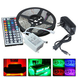 5M-RGB-5050-Non-Waterproof-LED-Strip-light-SMD-44-Key-Remote-12V-Power-Full-Kit