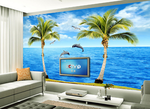 3D Palm Sea Bule Dolphin Paper Wall Print Wall Decal Wall Deco Indoor Murals