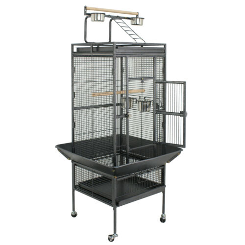 61″ Bird Cage Play Top Large Parrot Cage Include Ladder & 2 Perches Iron Black Bird Supplies