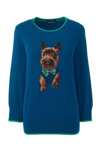 LANDS/' END Plus Size 1X 2X Dapper Dog Supima Cotton Sweater NWT $80