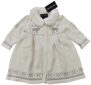 RALPH LAUREN baby girl cream knitted COAT 6 9M silver embroidery fur ... 793c39e5e83c