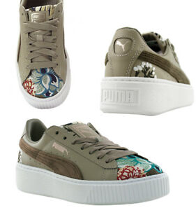 1c503463a9e Image is loading Puma-Platform-Hyper-Embroidered-Lace-Up-Womens-Trainers-