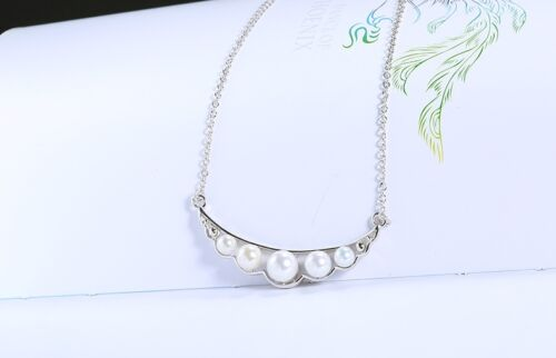 Perlen Kette Halskette aus 925 Silber mit 5 Perlen exklusive LED Holzbox